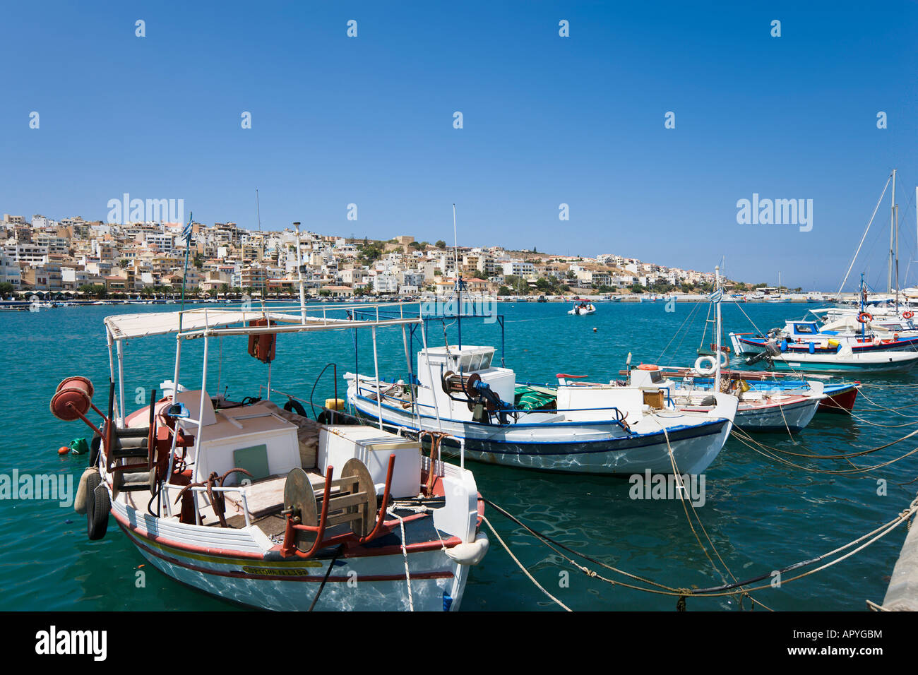 Harbour, Sitia, Lasithi Province, North East Coast, Crete, Greece - Stock Image
