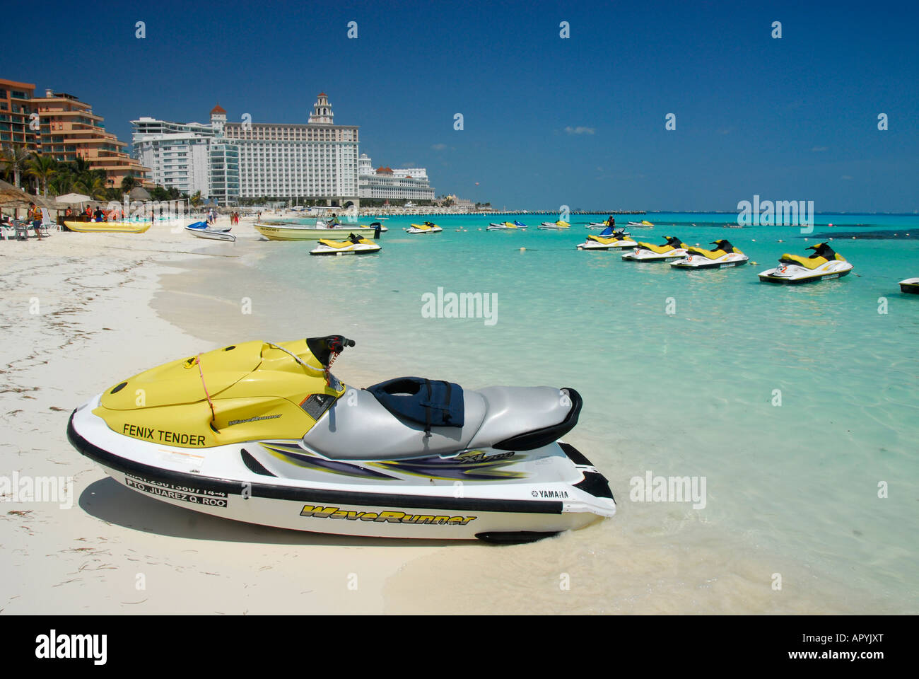 Sandy beach in Cancun hotel and resort area, Quintana Roo State, Mexico, North America Stock Photo