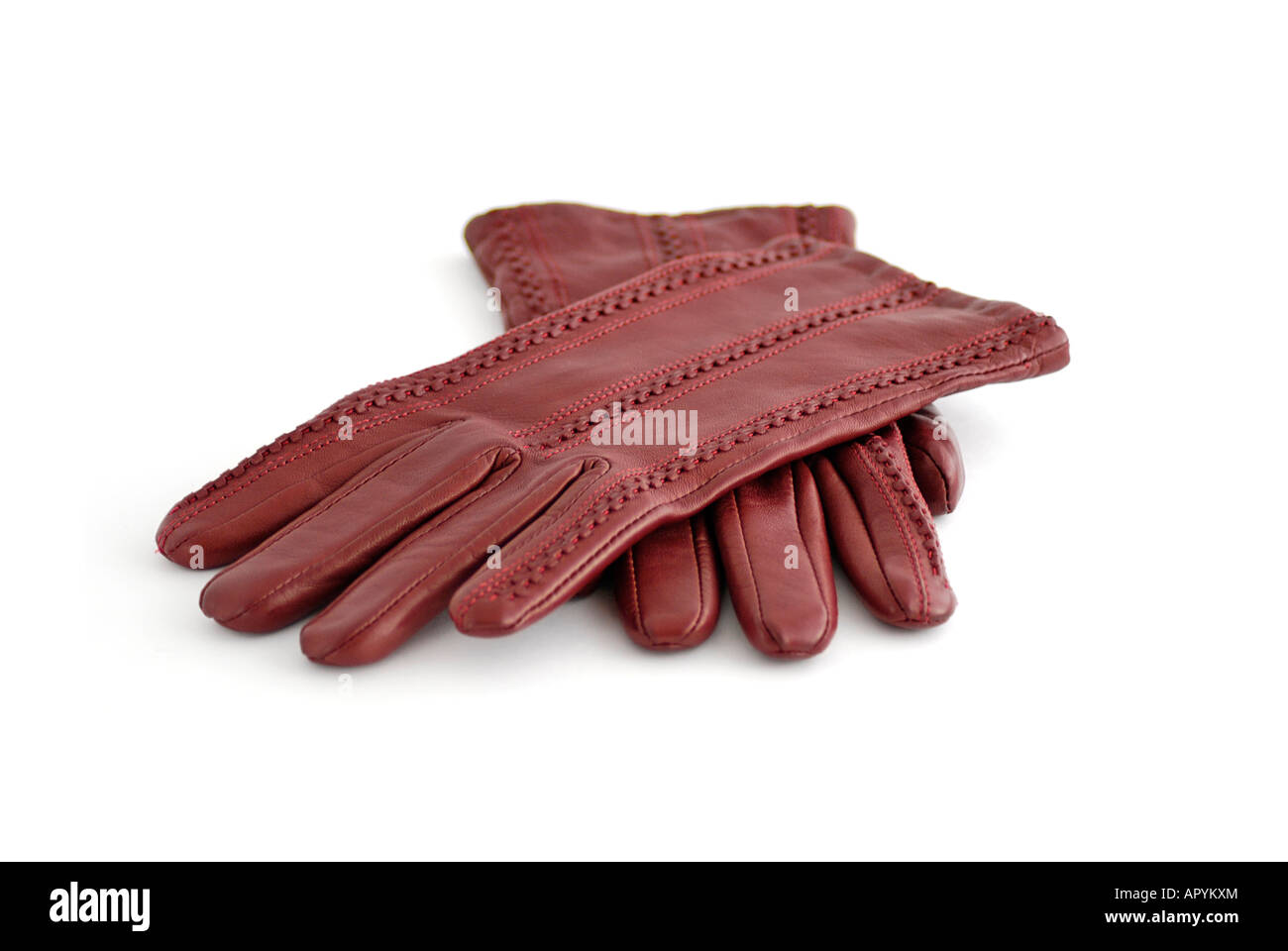 Pair of Red Leather Gloves - Stock Image