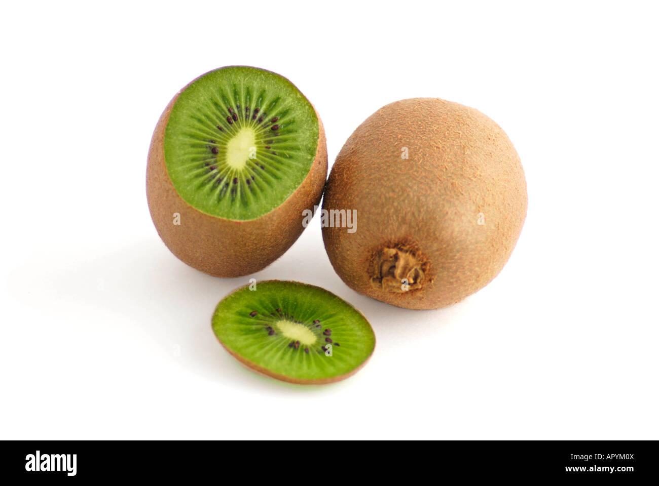 One whole and one sliced Kiwi - Stock Image