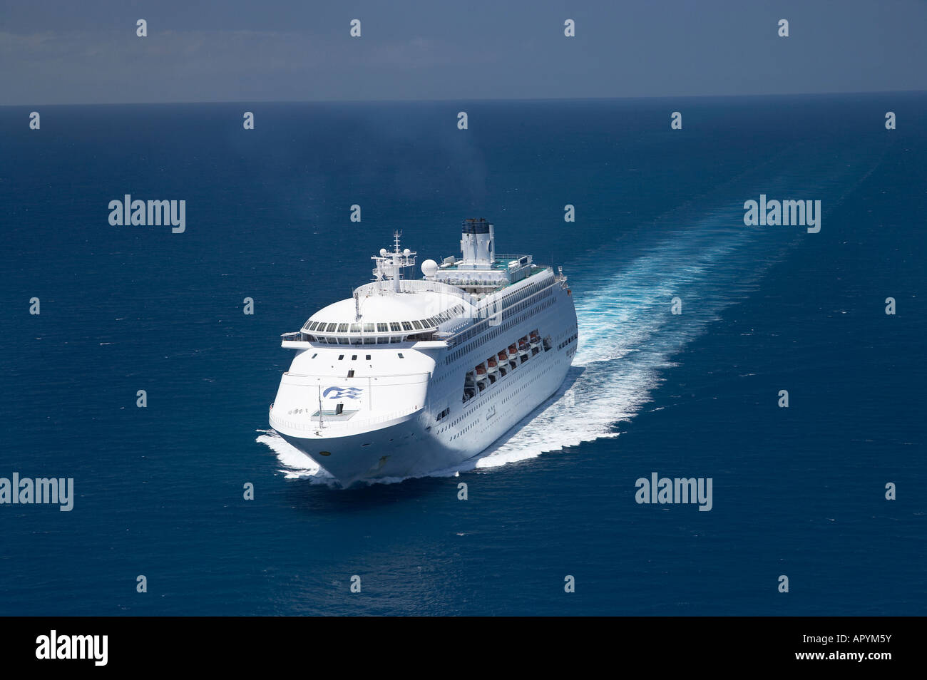 Regal Princess Cruise Ship near Cape Tribulation Great Barrier Reef North Queensland Australia aerial - Stock Image