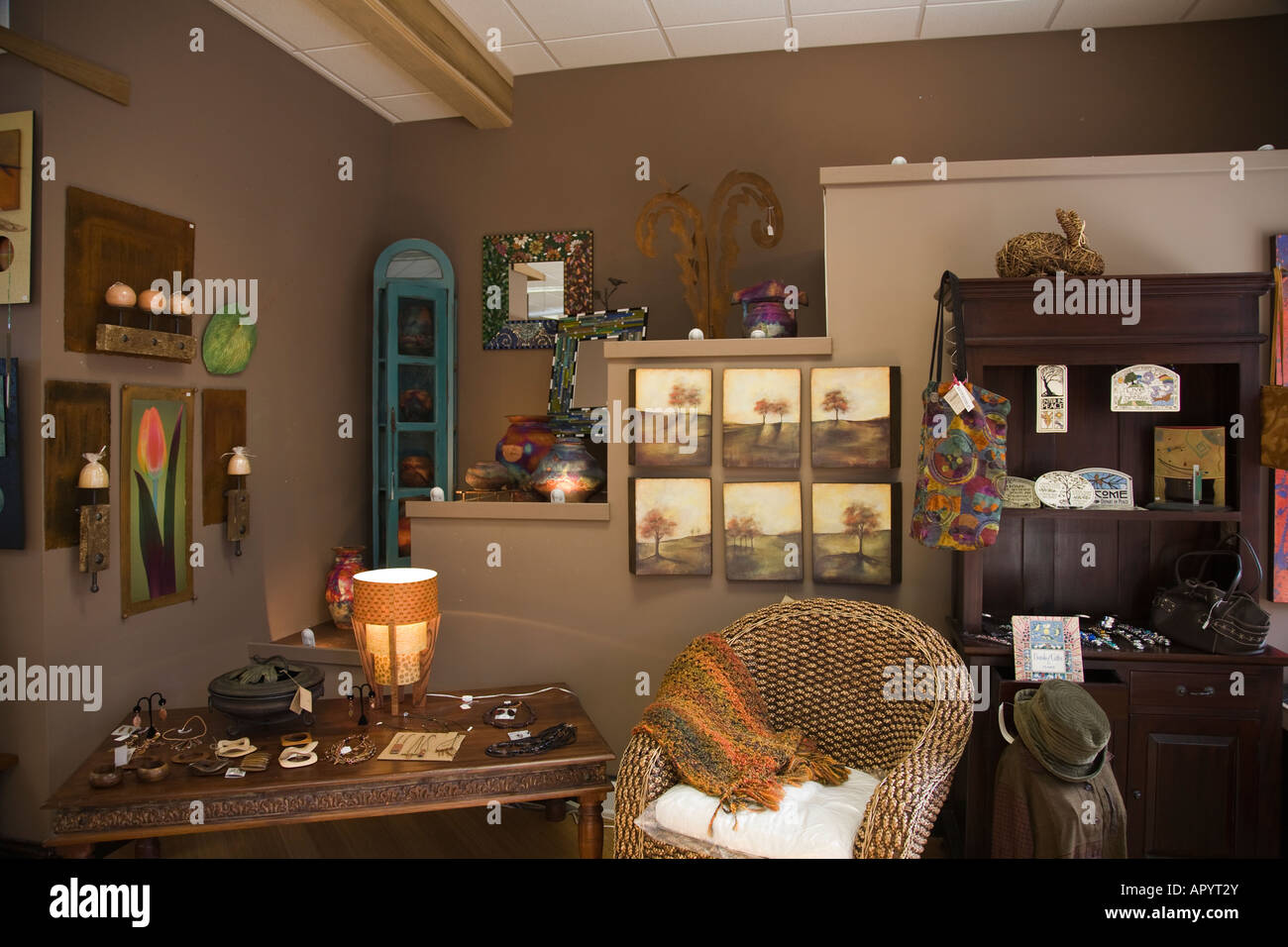 IOWA LeClaire Interior Of Home Furnishings Gift Shop Downtown Retail Store  Chair And Wall Hangings