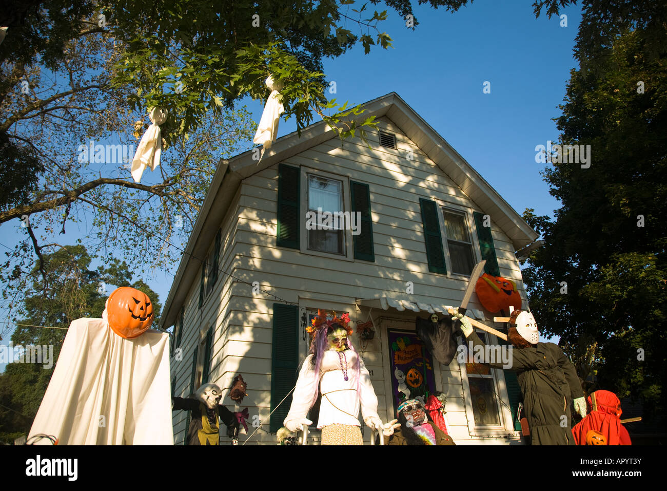 Illinois Dixon Ghoulish Halloween Decorations In Front Yard Of House