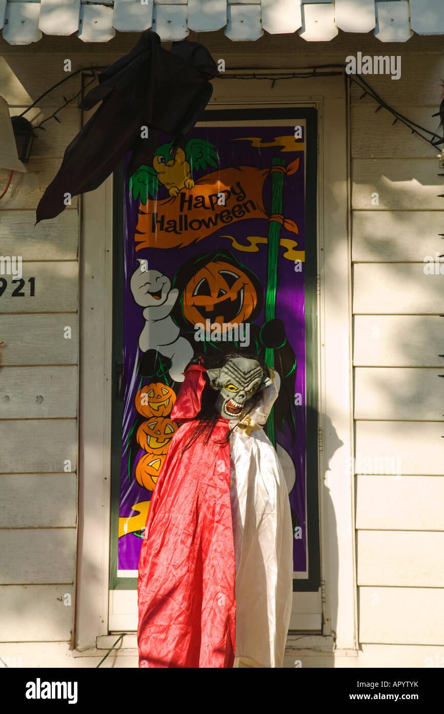 Halloween Front Door Decorations Stock Photos Halloween Front Door