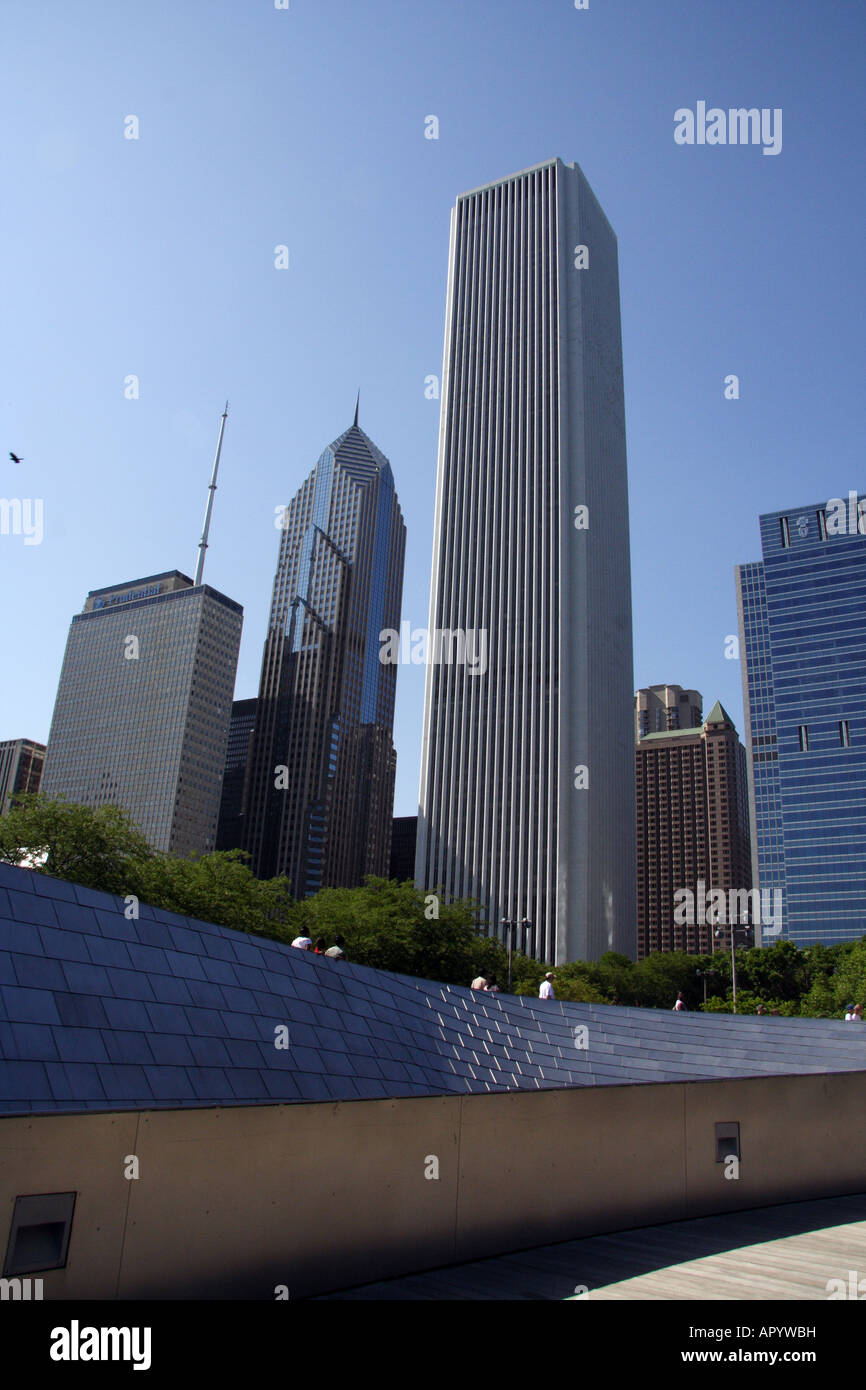 Chicago Buildings Architecture. View from BP Bridge Connecting Millennium Park to Daley Bicentennial Plaza Stock Photo