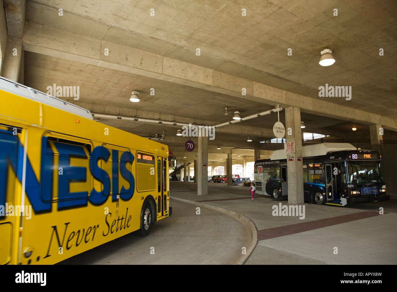 ILLINOIS Moline Covered bus terminal for city buses public transportation - Stock Image