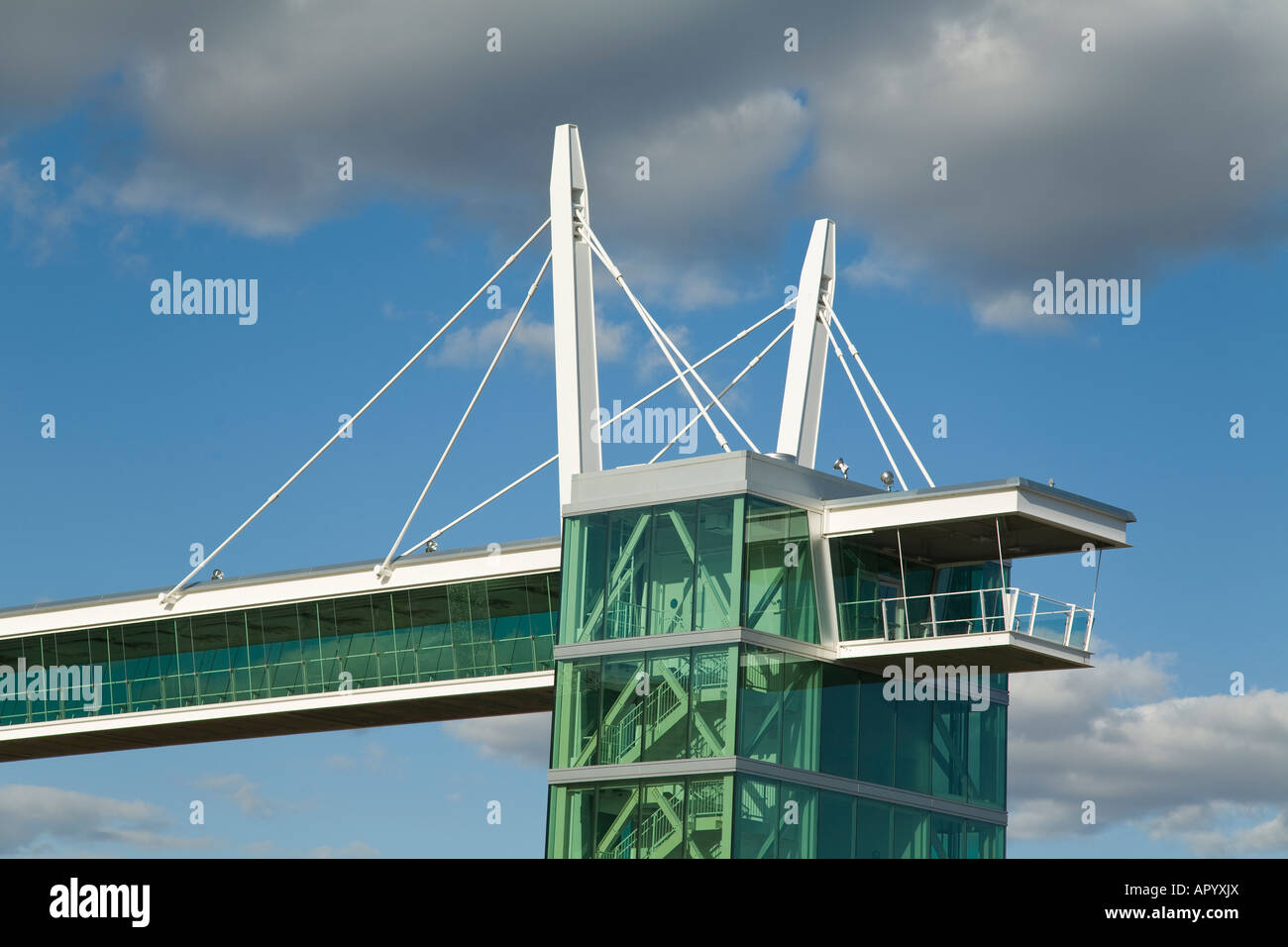 IOWA Davenport Skybridge elevated pedestrian walkway connecting downtown to riverfront - Stock Image
