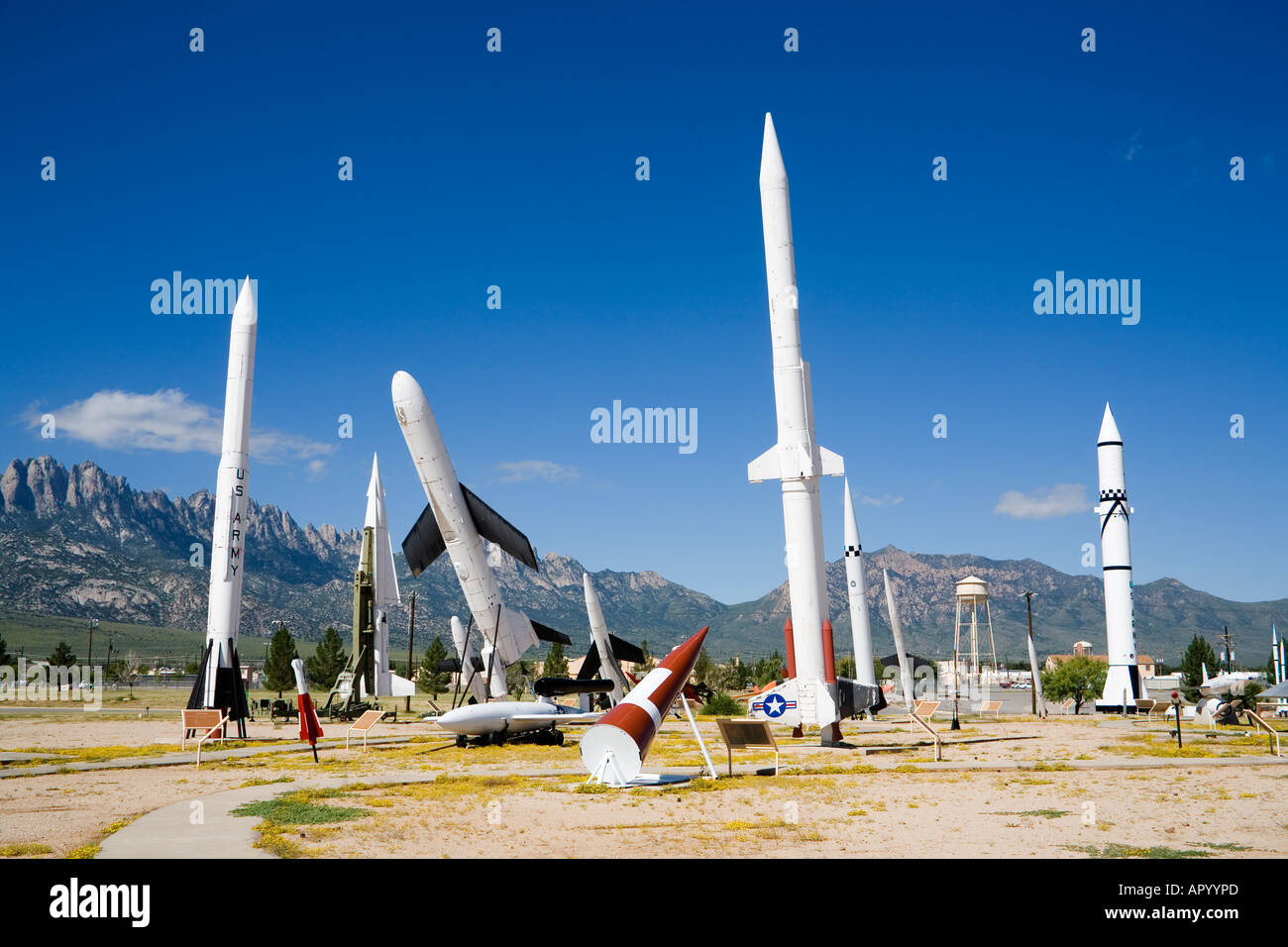 Open air museum showing missiles, nuclear and conventional weapons at White Sands Missile Range, New Mexico, USA - Stock Image