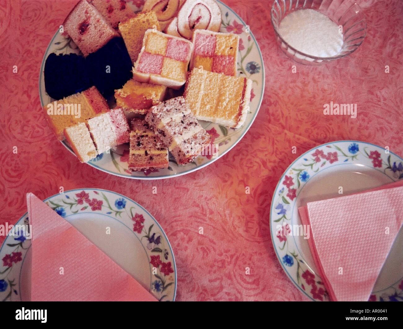Tea birthday party cake napkins - Stock Image