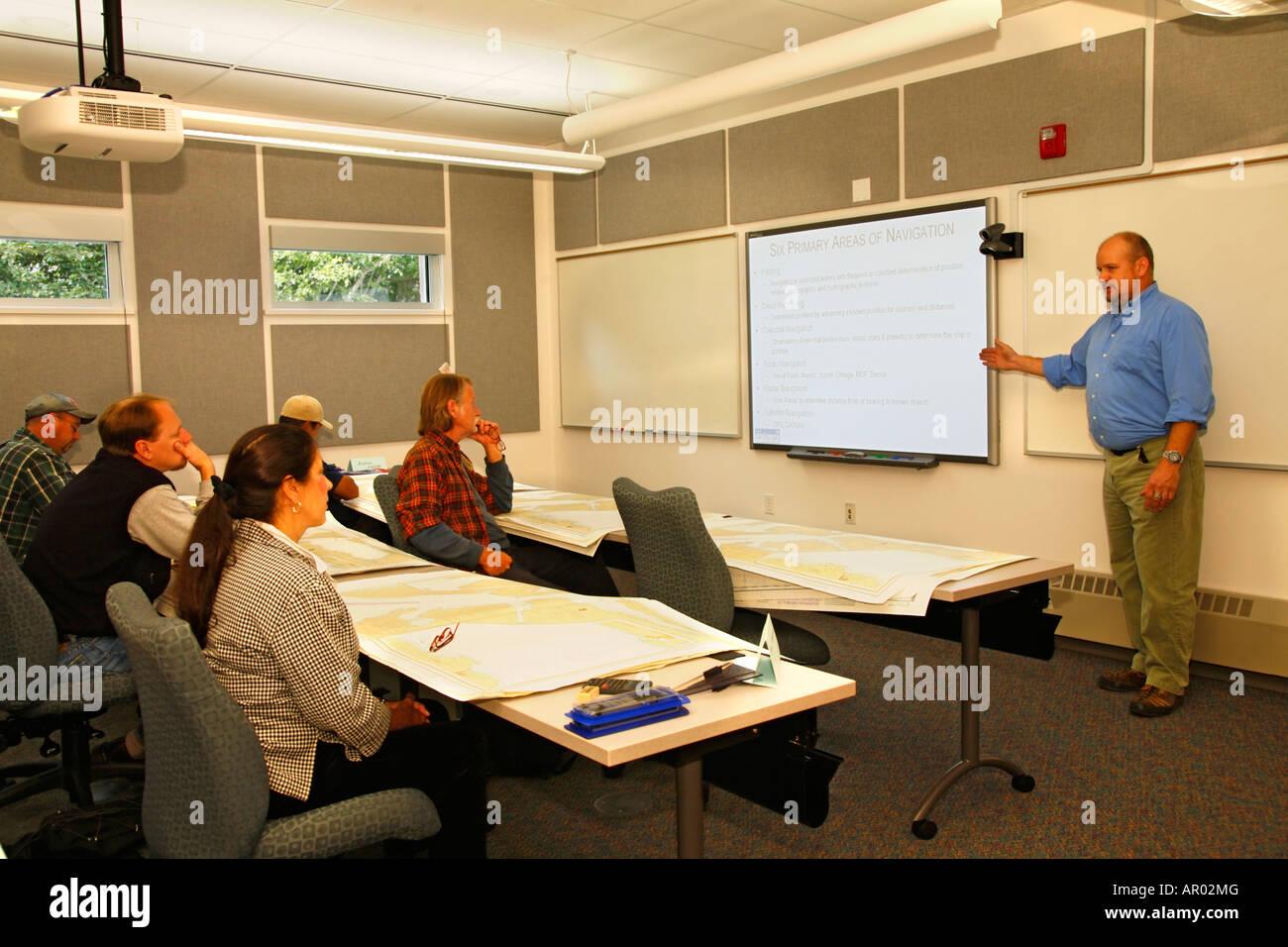 Mike teaching a navigation class AVTEC Seward, Alaska - Stock Image
