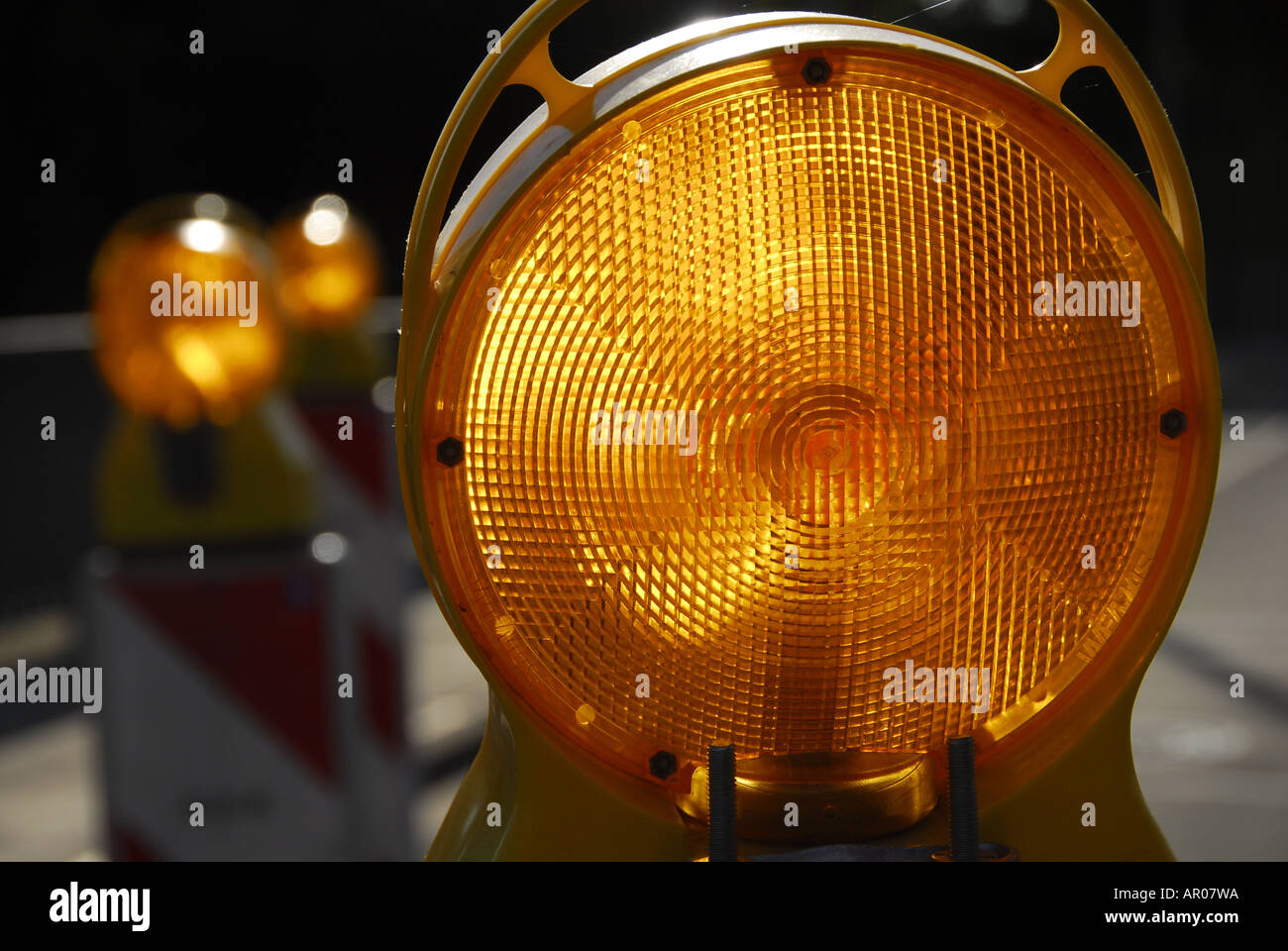 Warning-light, safeguarding of a construction site - Stock Image