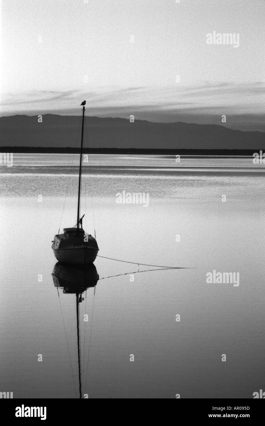 black and white sunset of Nelson estuary New Zealand - Stock Image