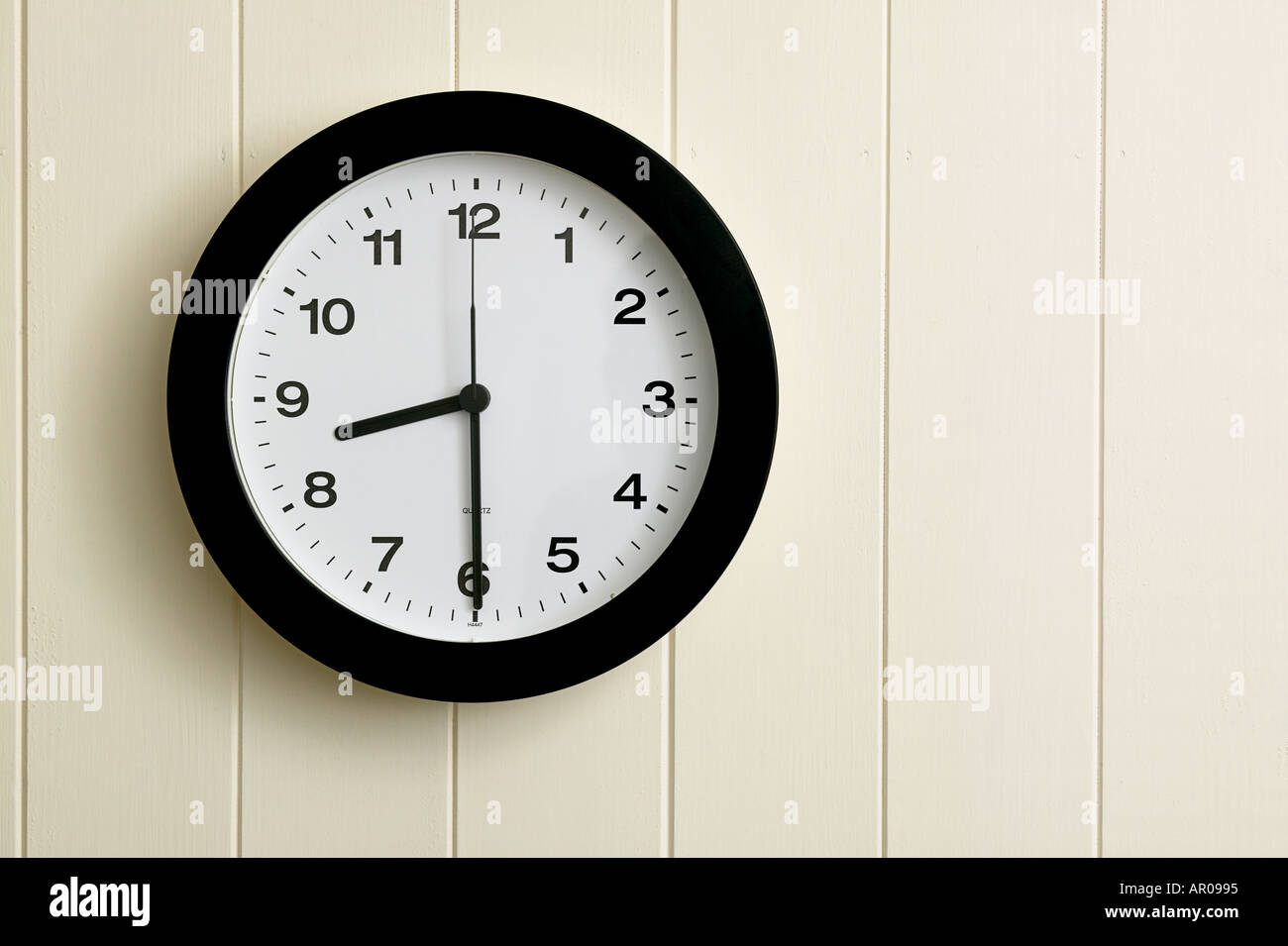 30 wall clock vintage wall clock showing time at half past eight thirty 0830 2030 stock