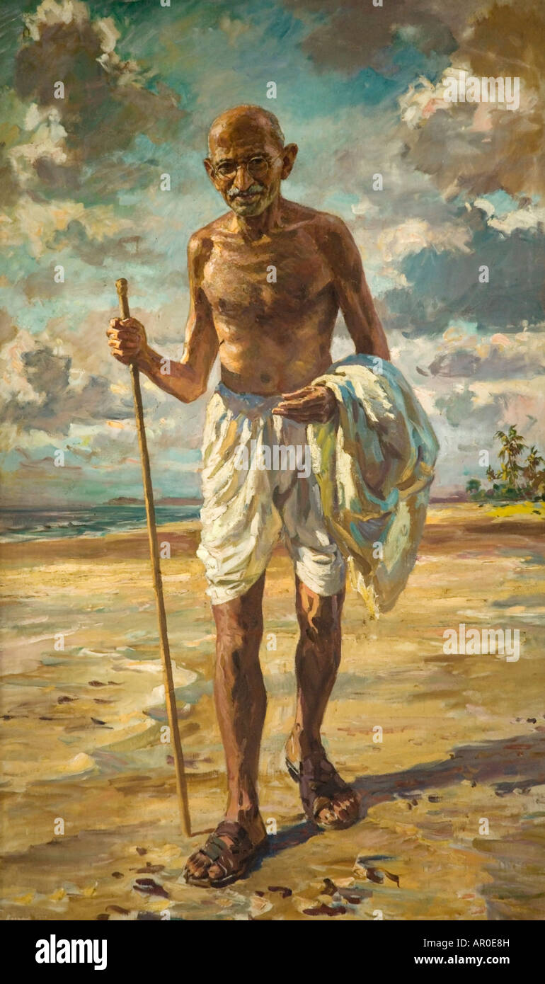 Mahatma Gandhi painting. National Gandhi Museum. New Delhi. India - Stock Image