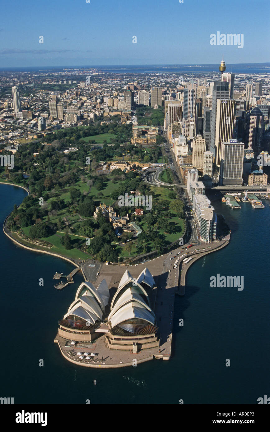 Sydney Opera House from the air, Sydney Opera House, architect Jorn Utzon, Sydney, Sydney Harbour, New South Wales, Australia - Stock Image