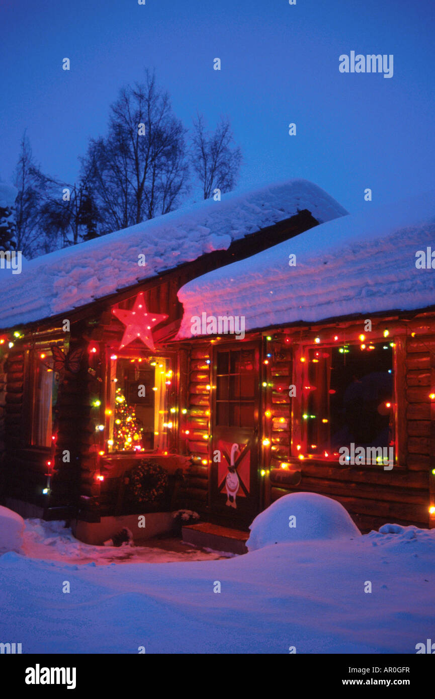 decor lighting anchorage. Anchorage Log Cabin With Christmas Lights AK Southcentral Winter Portrait  Night