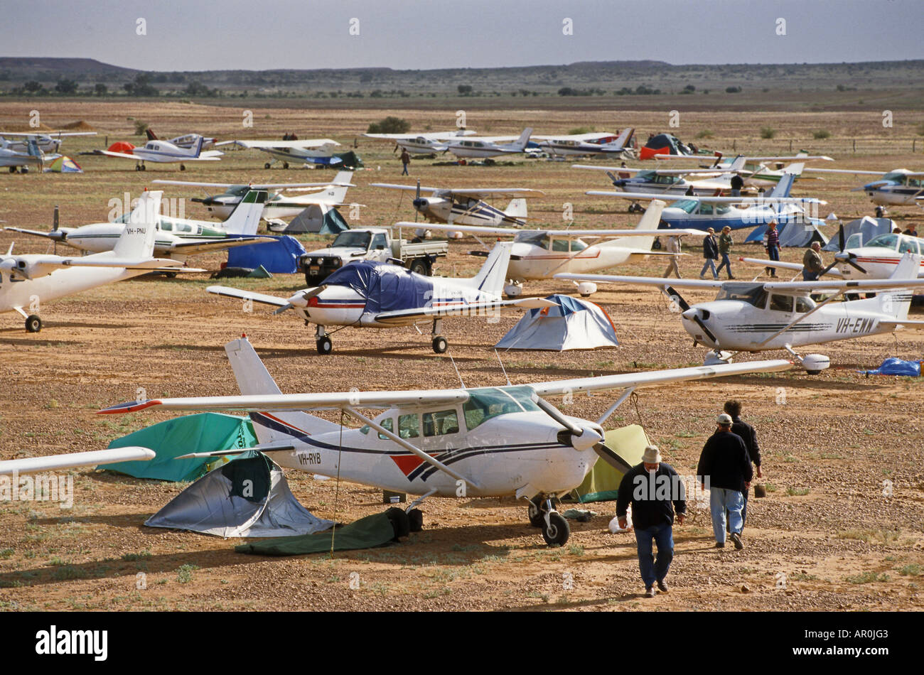 Airfield with airplains, annual horse races, Birdsville, Queensland, Australia - Stock Image