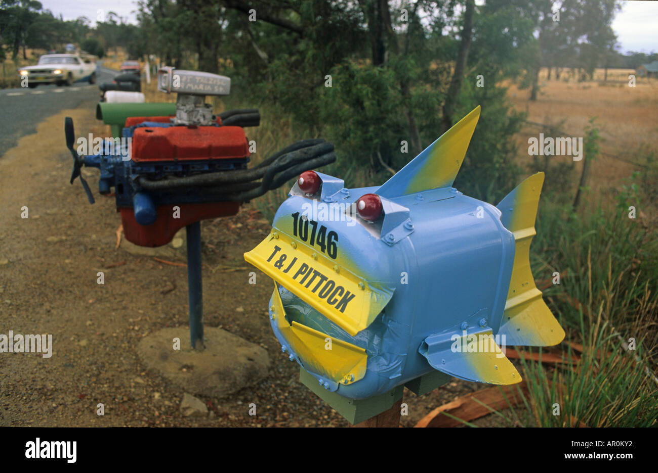 Funny mailboxes, Nullarbor, South Australia, Australia - Stock Image
