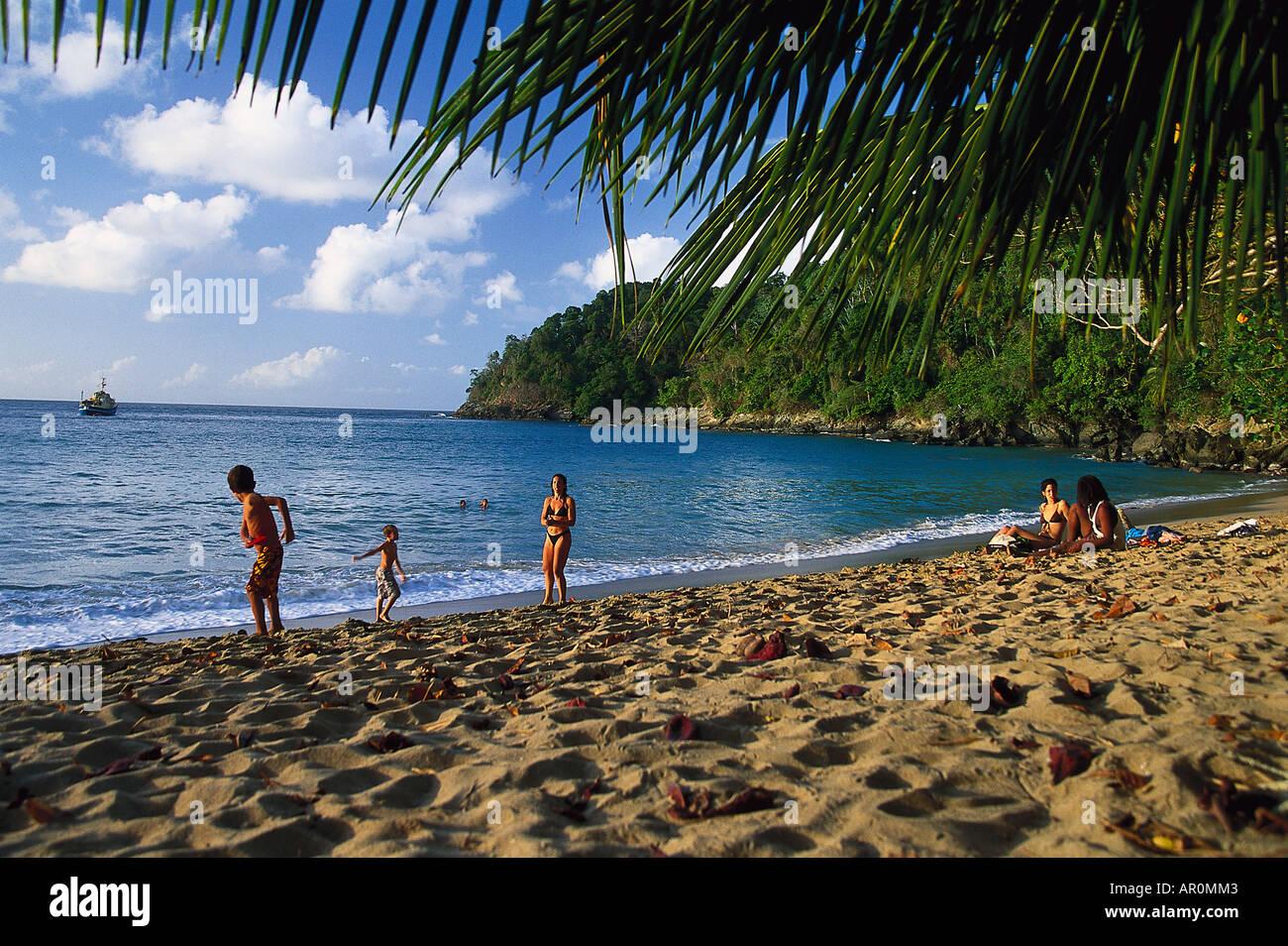 Sandstrand, Englishman Bay, Nordkueste von Tobago, West Indies, Karibik - Stock Image