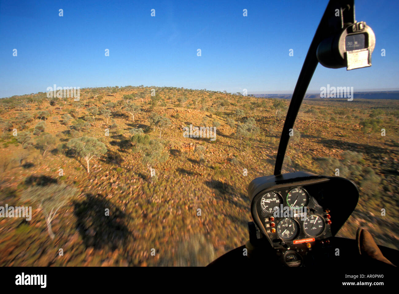 aerial view out of helicopter window, outback Australia - Stock Image