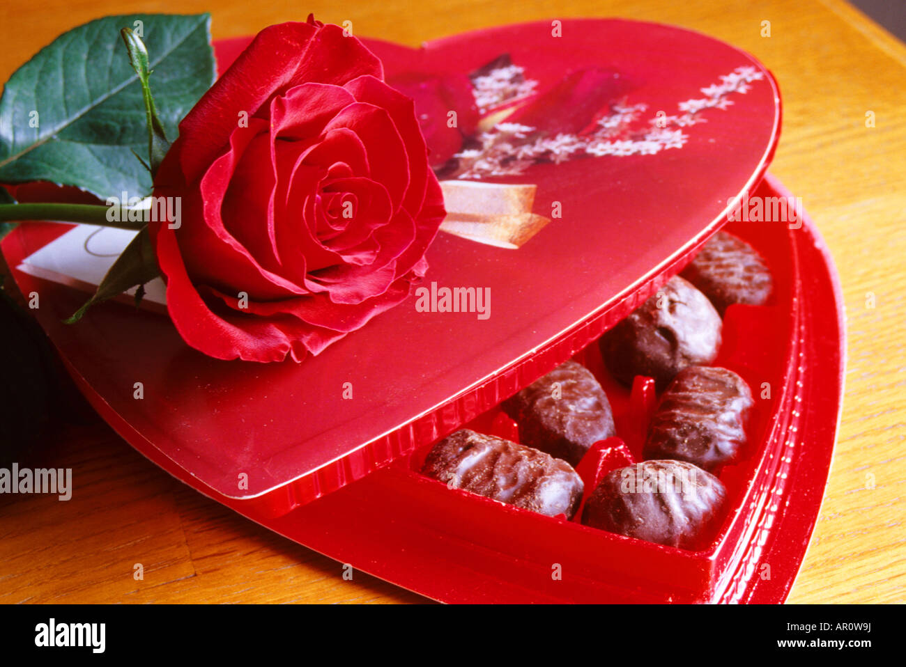 Still Life of Valentine heart chocolates with red rose - Stock Image