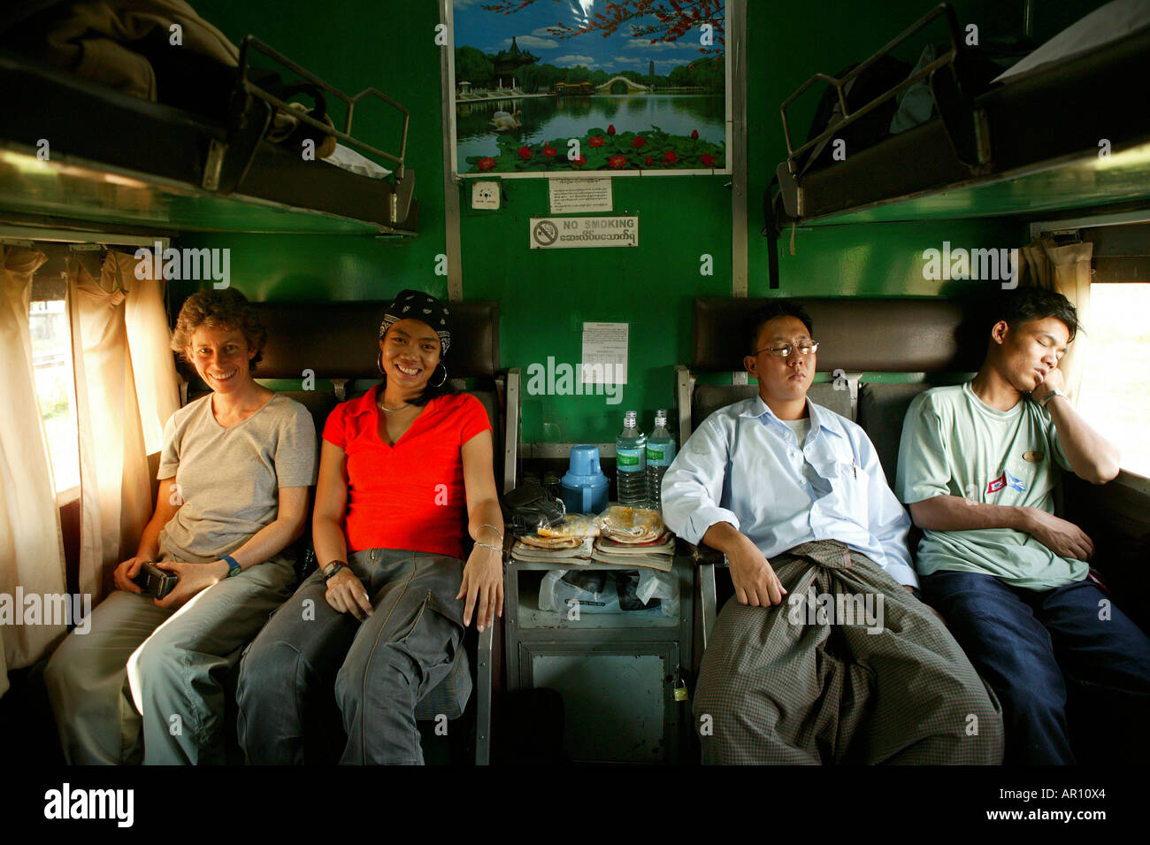 sleeper train journey, Burma, Myanmar - Stock Image