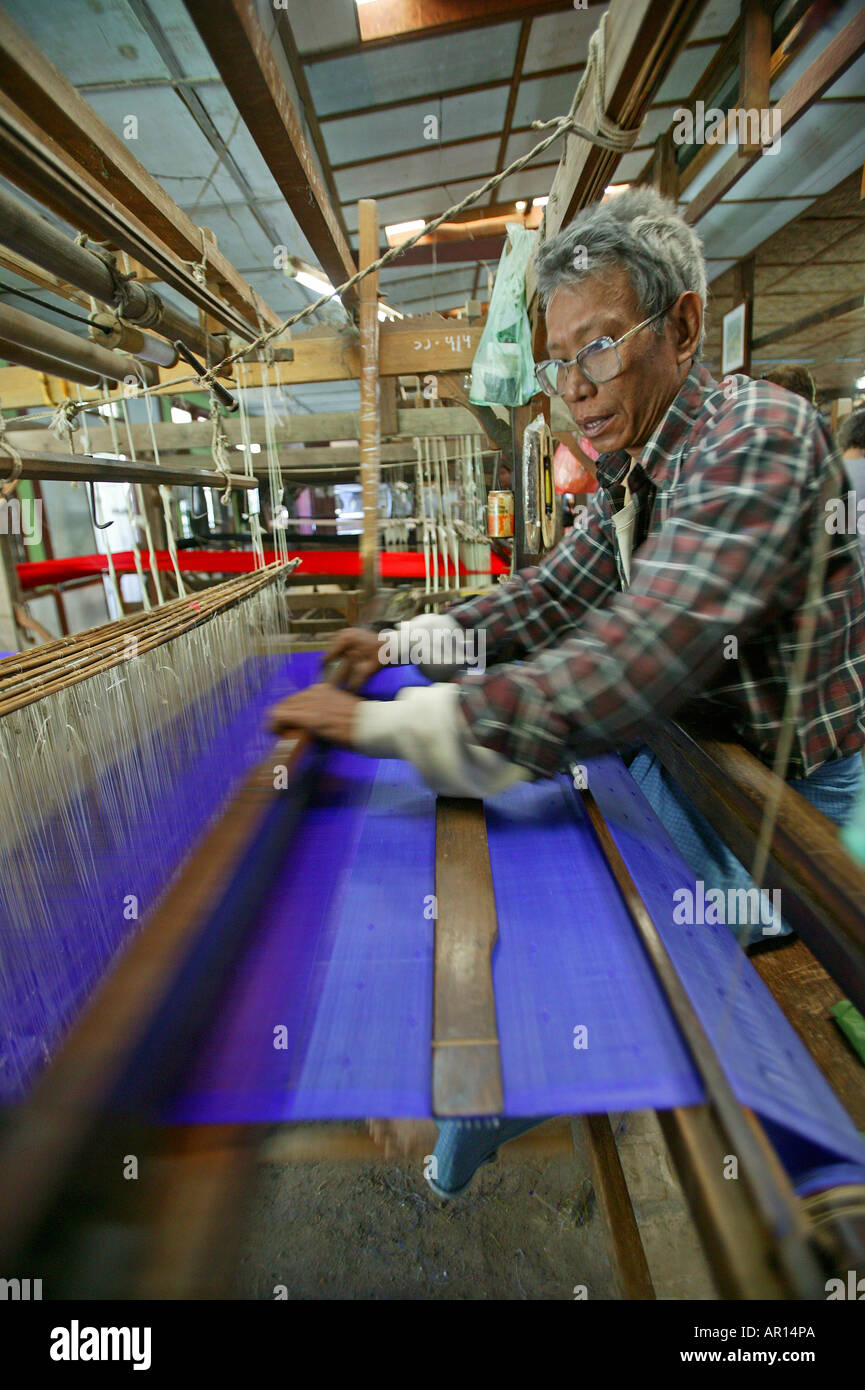 Weaver on loom, craftsman, Weberei, Handarbeit, Mann arbeitet am Webstuhl, Weber Stock Photo