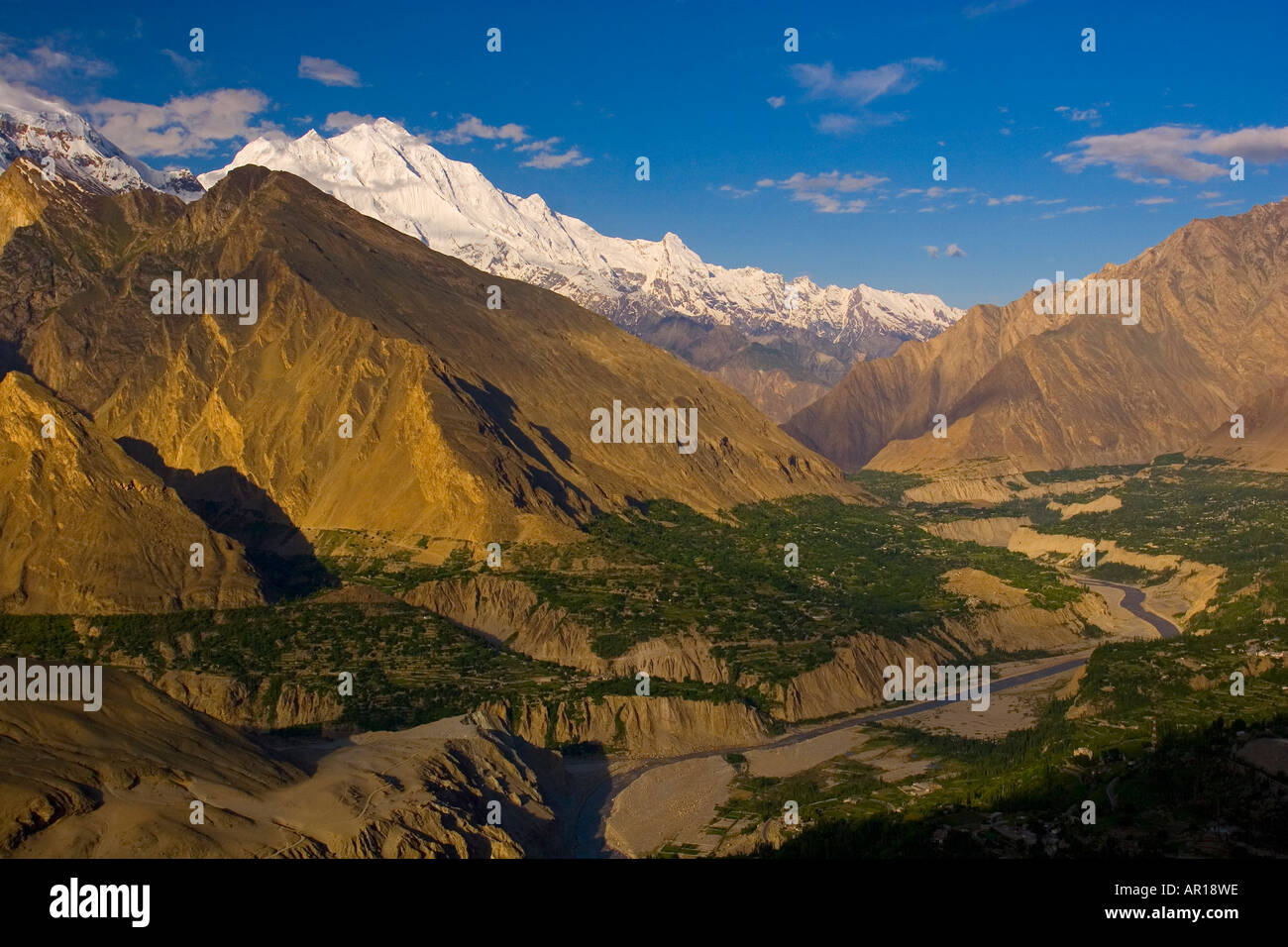 Karimabad and Hunza River and Valley early in the morning Karimabad Pakistan - Stock Image