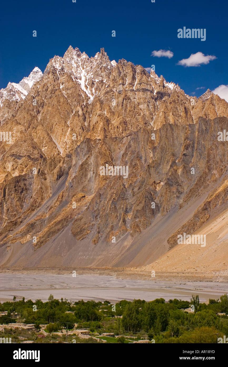 The peaks surrounding the village of Passu Pakistan - Stock Image