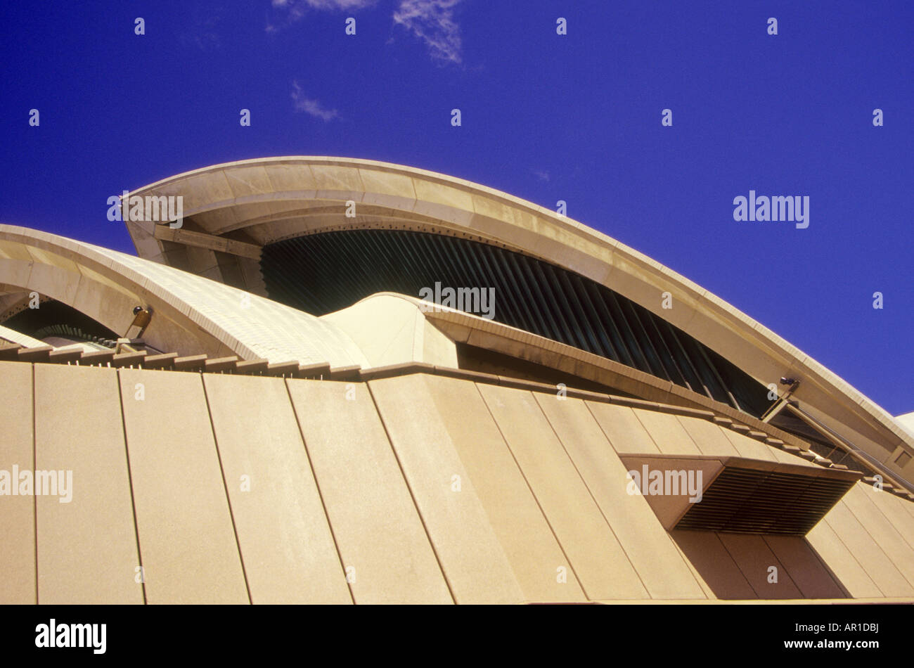 An abstract view of the roof of the Sydney Opera House, which was designed by Jørn Utzon and is a World Heritage - Stock Image