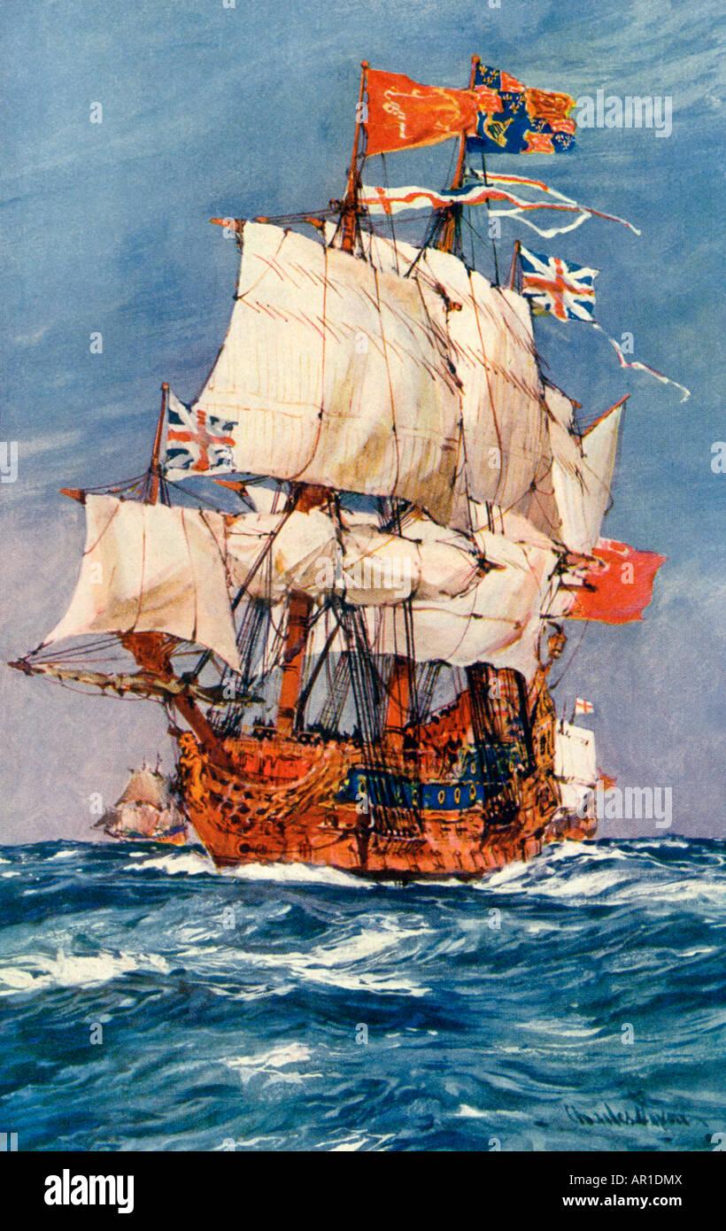 17th-century English Warship - Stock Image