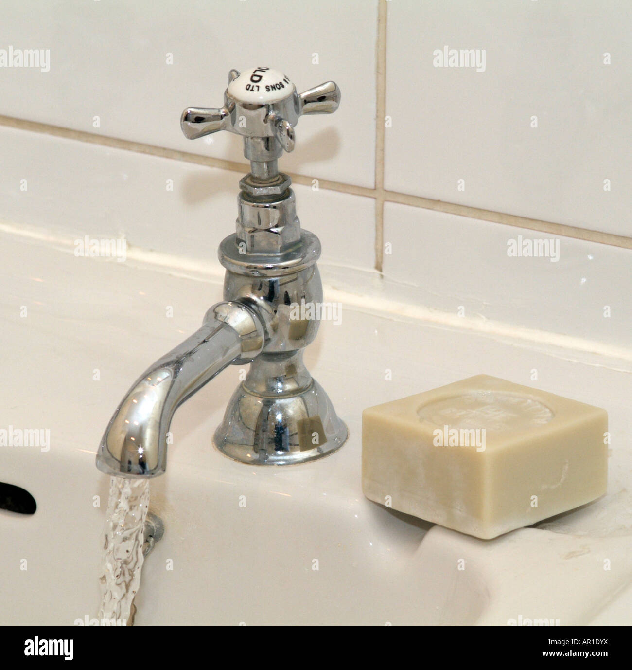 Cold Water Tap Soap and Running Water Stock Photo: 15907357 - Alamy