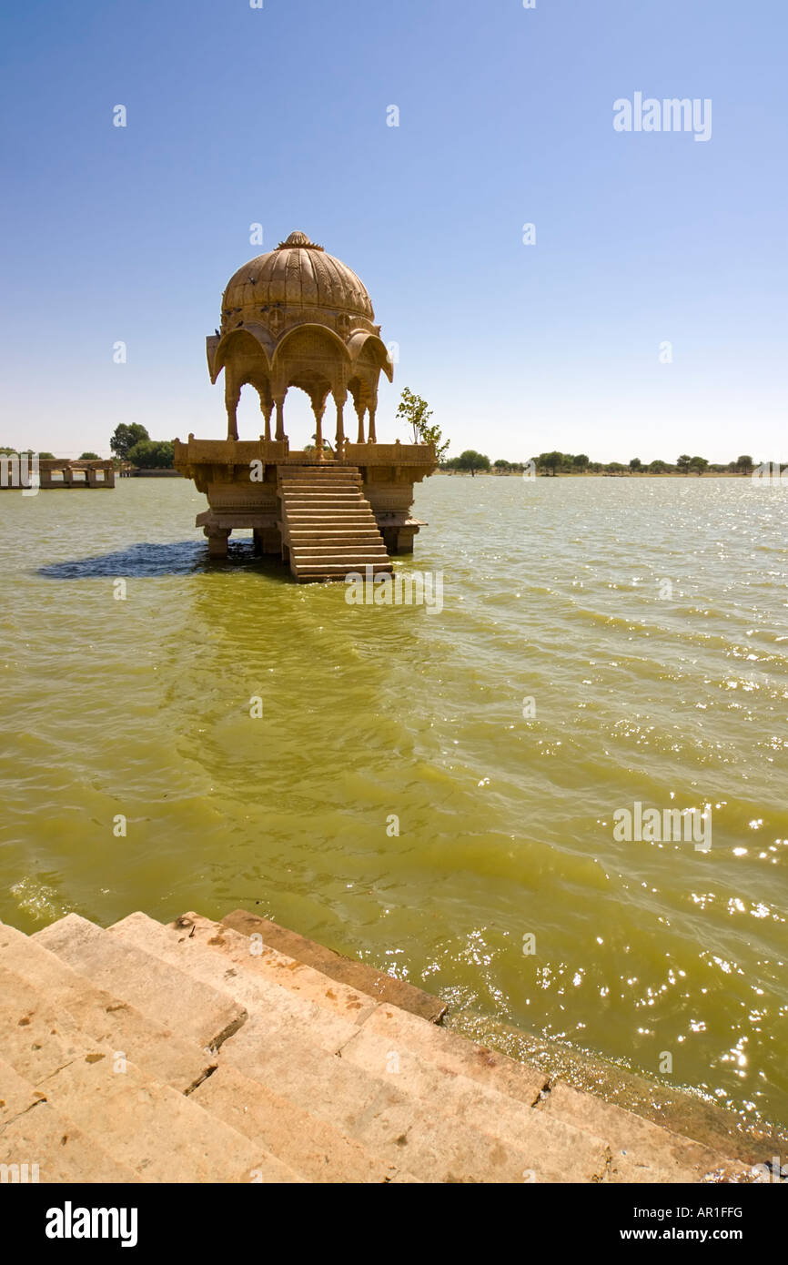 One of the many temples surrounding the Gadisar lake - Jaisalmer, Rajasthan, India - Stock Photo