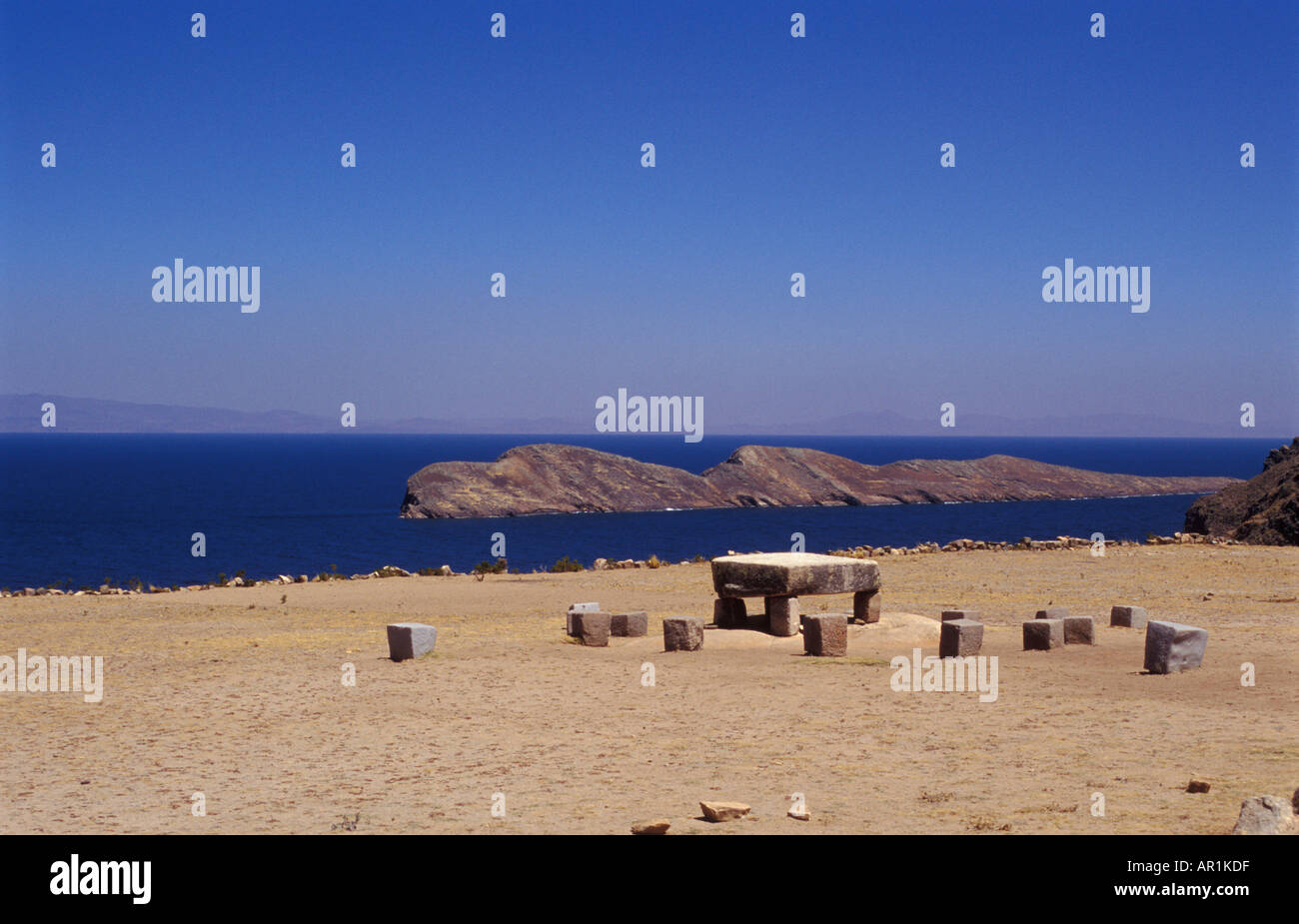 The Island of the Sun on Lake Titicaca with the sacrificing table in Bolivia - Stock Image