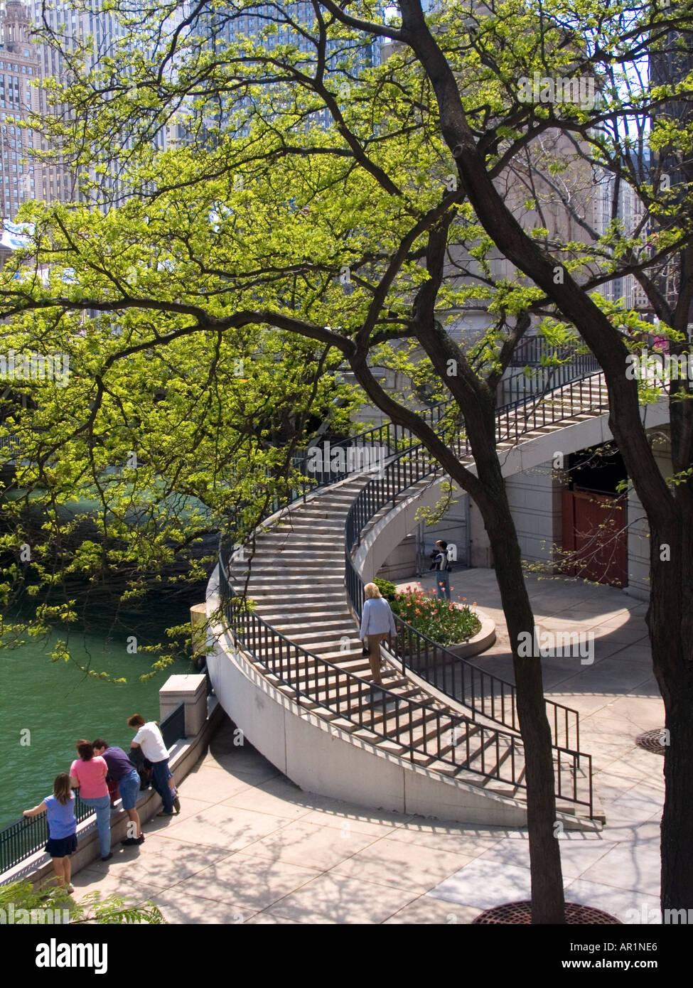Spiral Staircase Riverwalk Chicago River Near Michigan Avenue