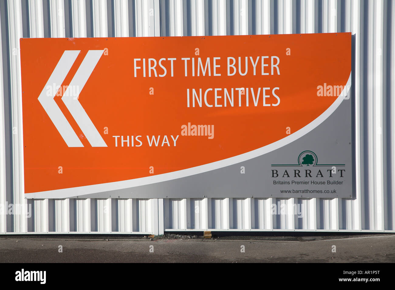Barratt Homes sign advertisng First Time Buyer incentives - Stock Image