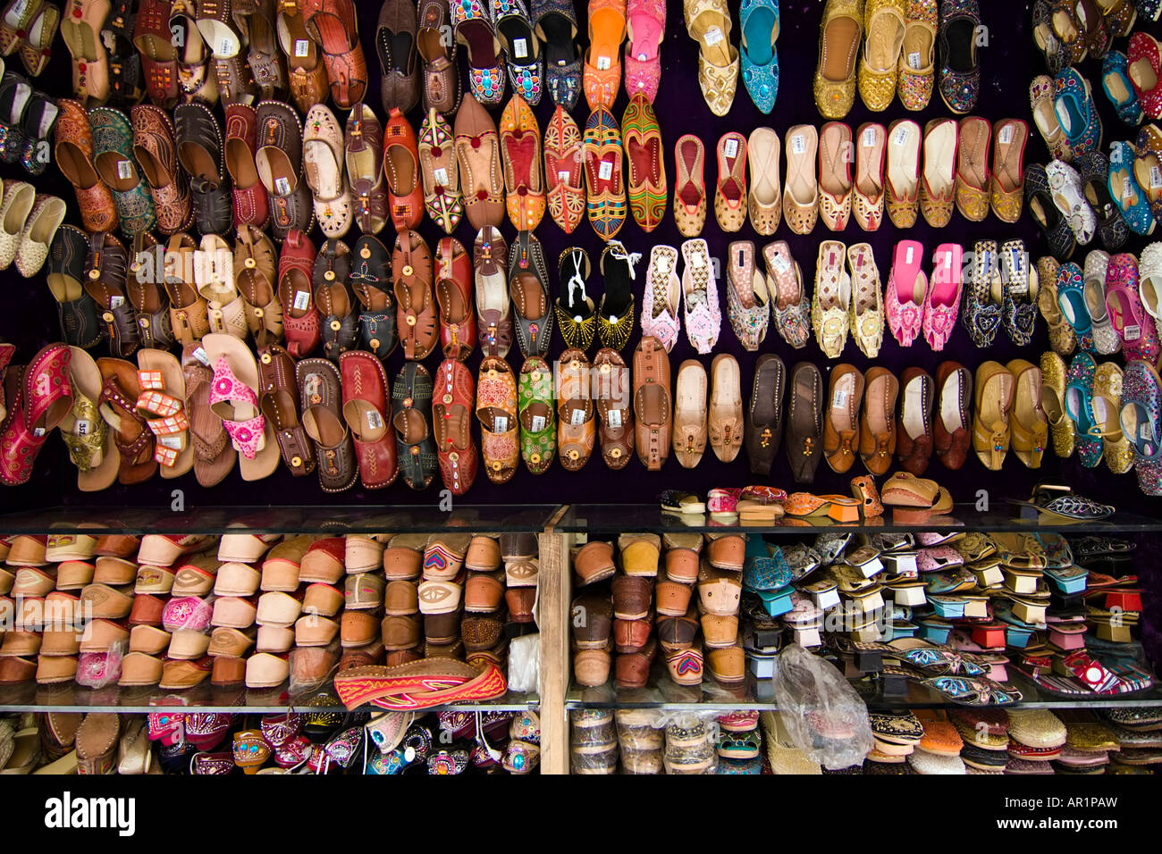 220f7b1469ab Stall of an indian leather slippers shop - Jodhpur