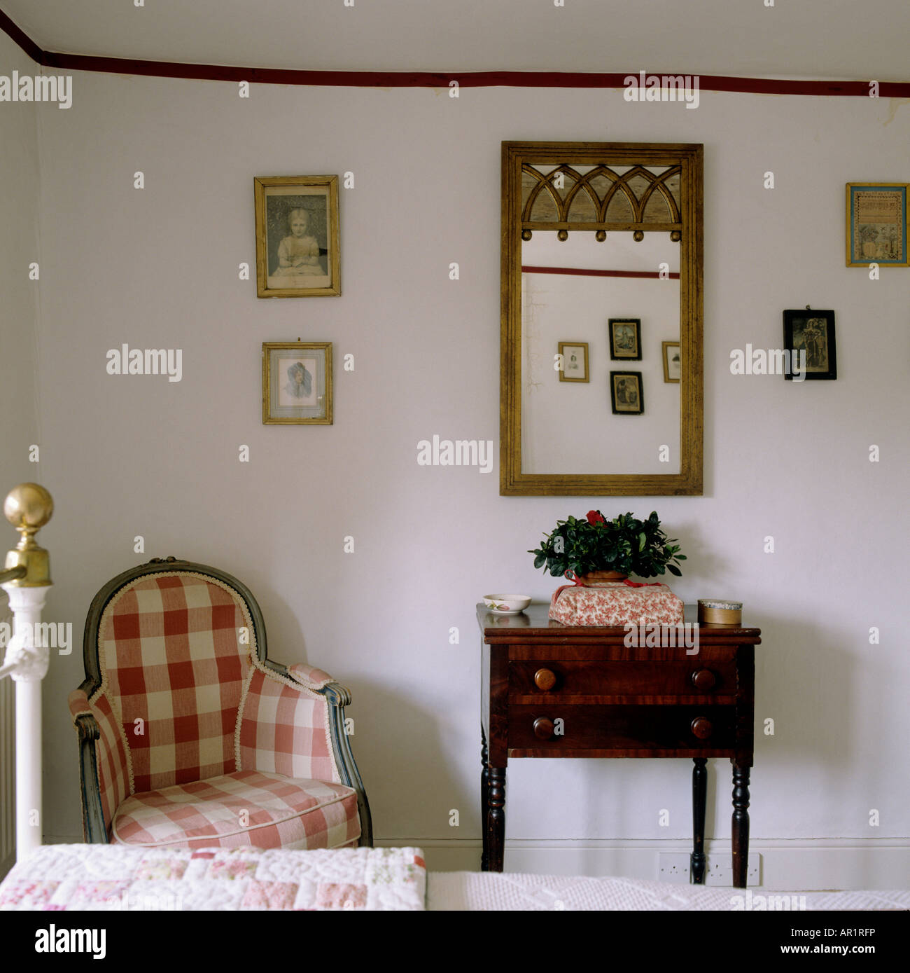 detail of a bedroom in a Wiltshire country house - Stock Image