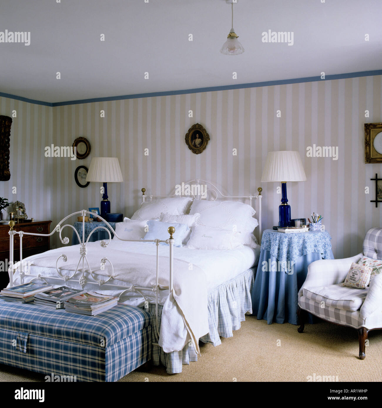 English Country Bedroom With Striped Wallpaper And Victorian