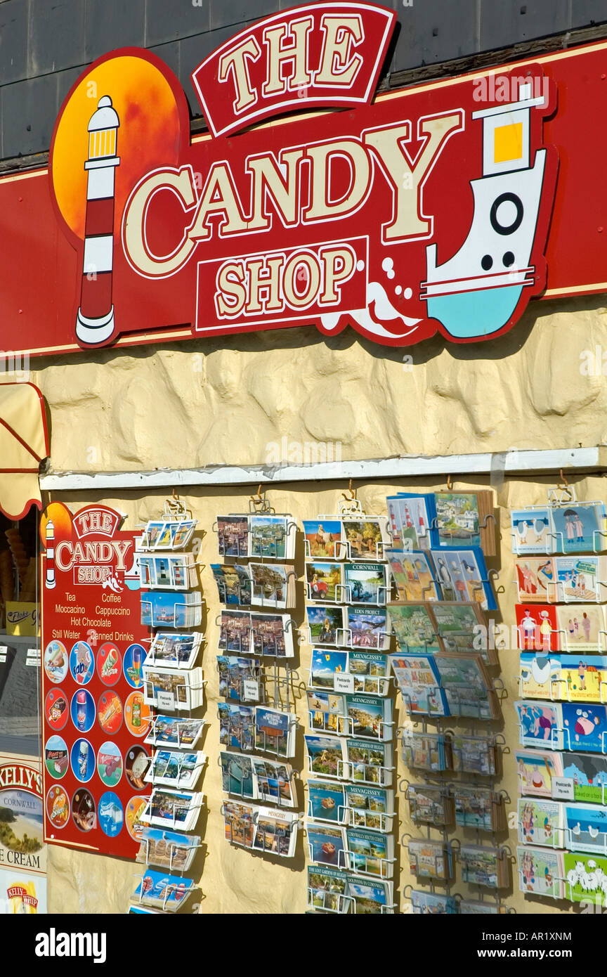 a seaside candy shop at mevagissey in cornwall,england - Stock Image