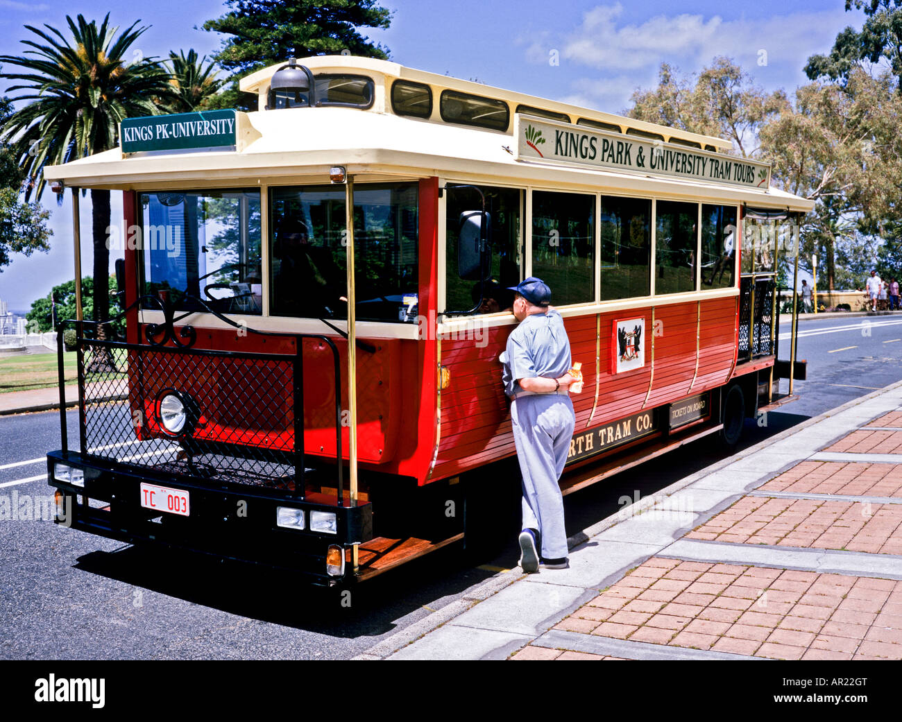 Replica early 19th century Perth tram awaiting tourists at Kings Park Perth Western Australia - Stock Image