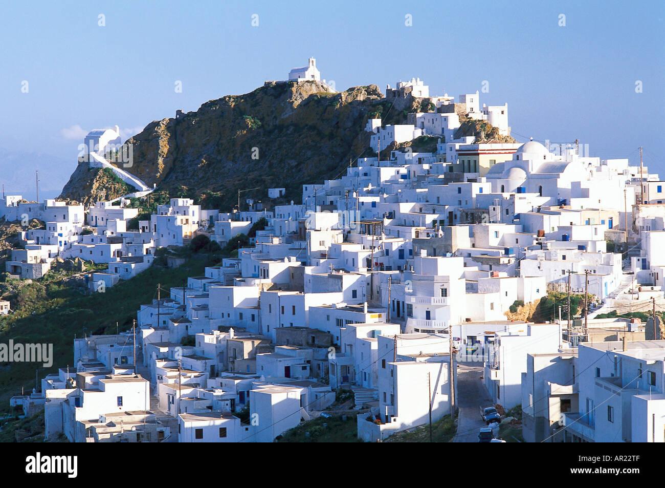 White houses, Agios Konstantinos, Chora, Serifos, Cyclades, South Aegean, Greece - Stock Image