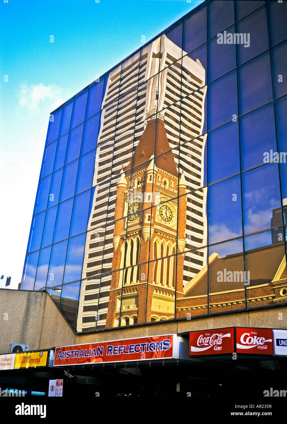 Australian reflections of skyscraper and Town Hall in Perth Western Australia - Stock Image