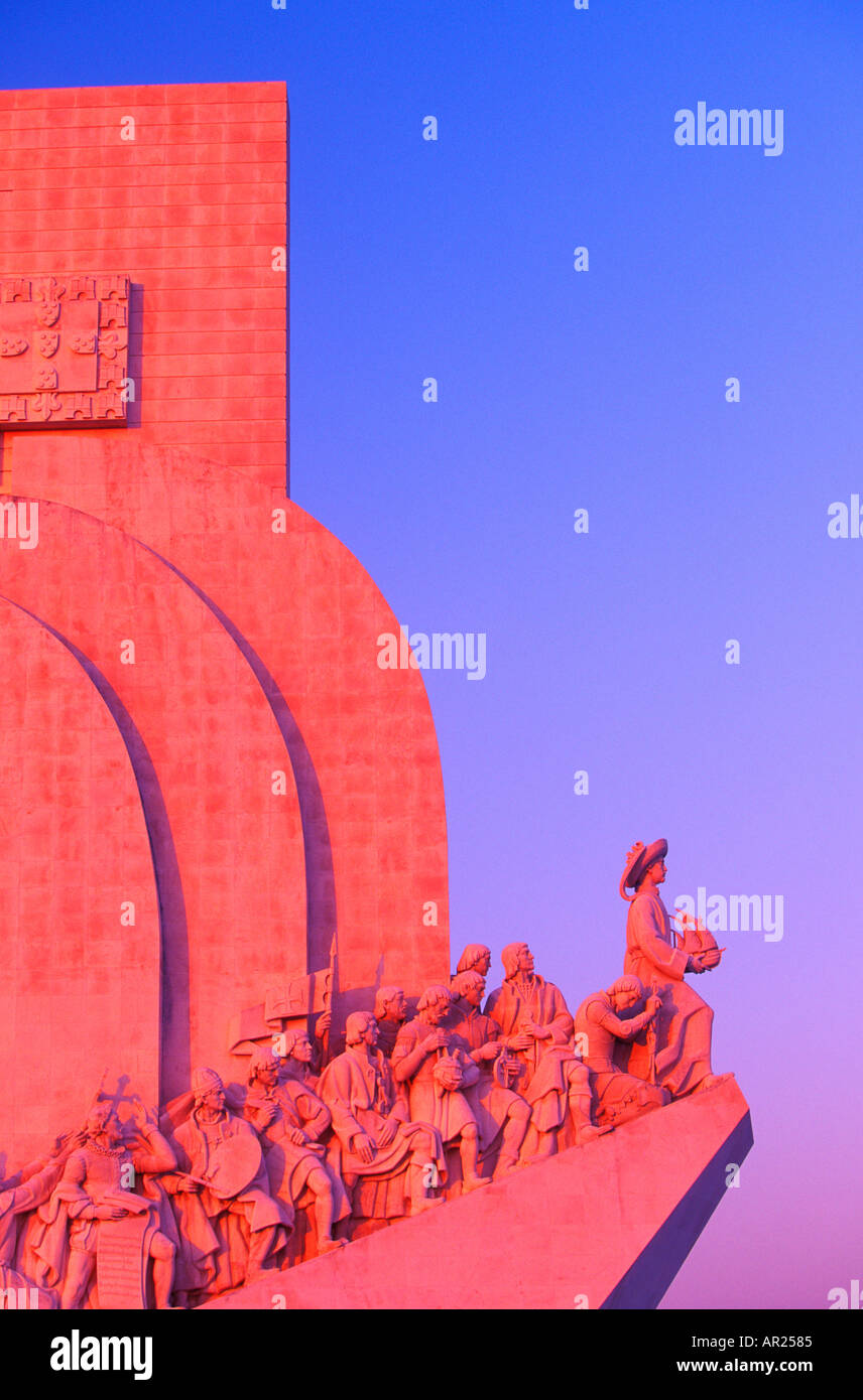 Monument to the Discoveries at sunset Belem Lisbon Portugal 2708 005 05 - Stock Image