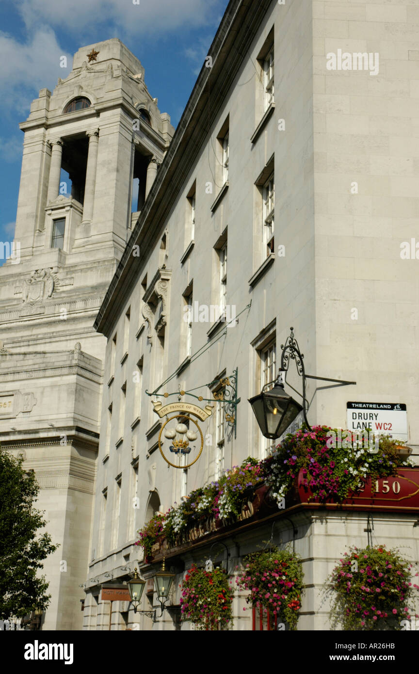 The Prince of Wales pub on the corner of Drury Lane and Great Queen Street with Freemasons Hall in the background London UK - Stock Image