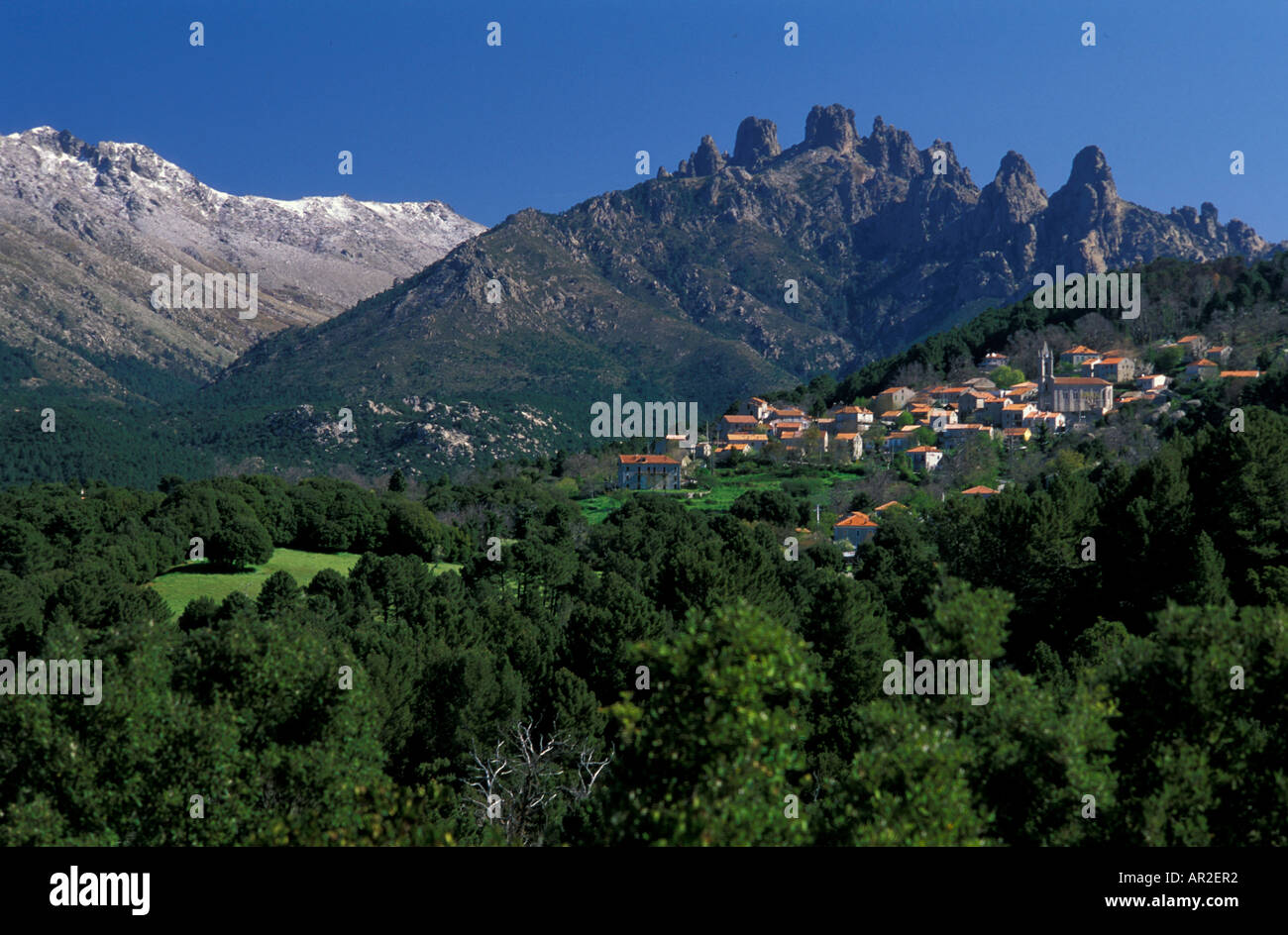 Zonza in front of Bavella and Monte Incudine, Corsica, France Stock Photo