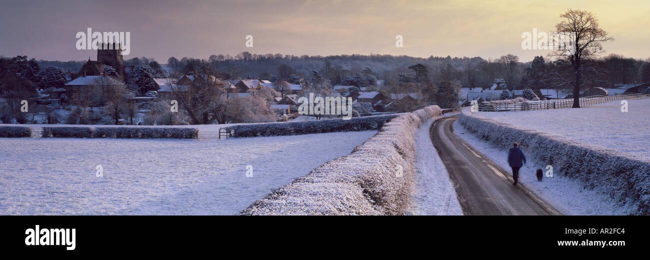 Milborne Port in the snow winter Somerset UK Stock Photo