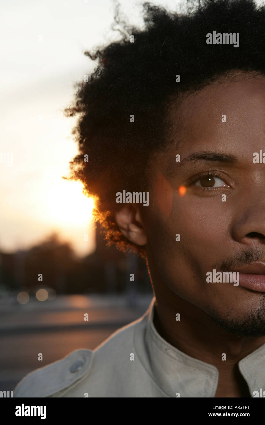 Cropped view of an African American man - Stock Image