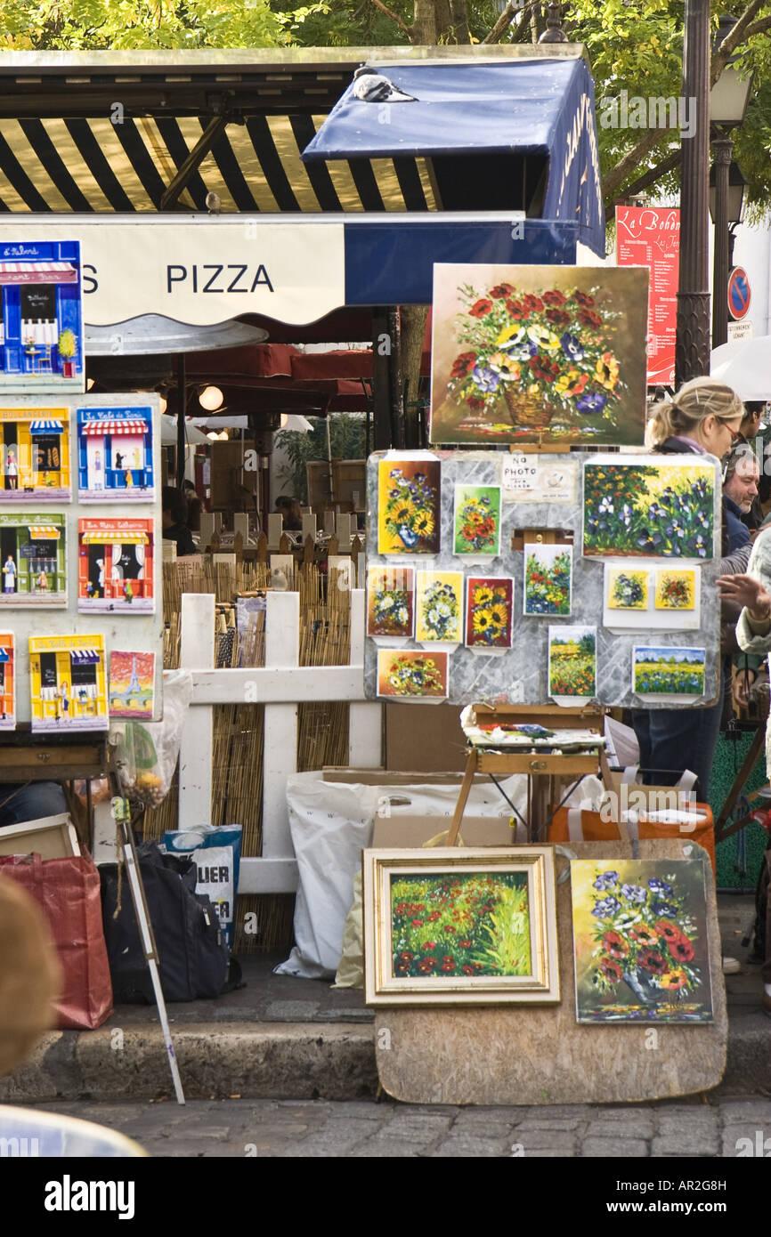 art market on Montmartre, France, Paris - Stock Image