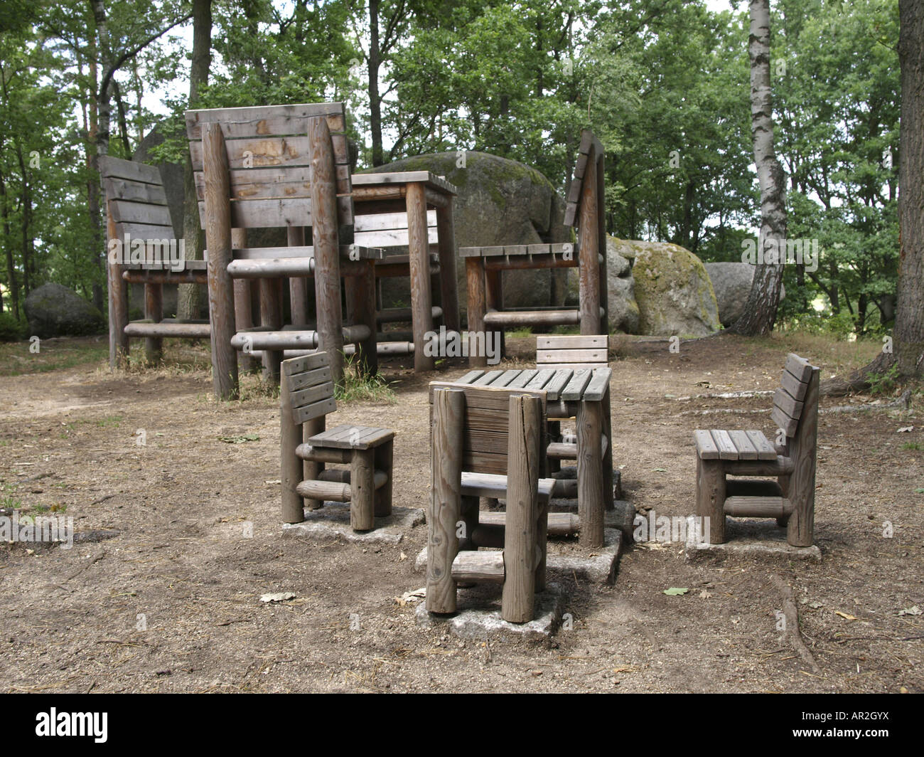 Natural Park Blockheide, Small Table And Chairs In Front Of Oversized  Wooden Chairs And Table, Austria, Lower Austria, Waldvier